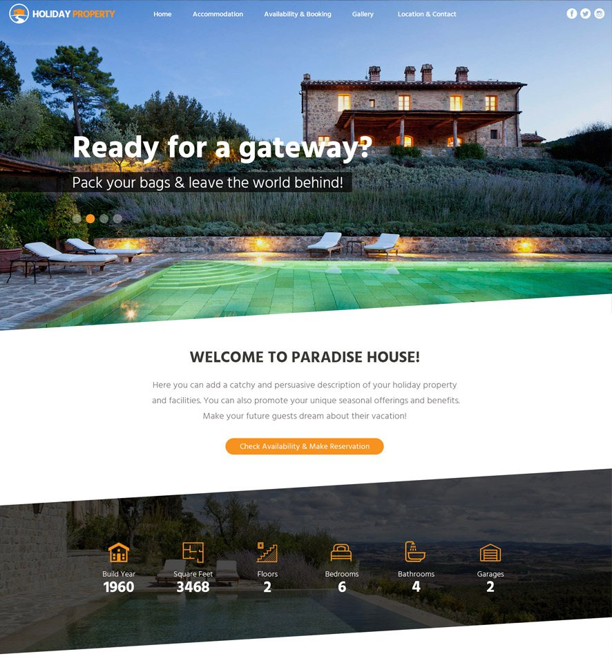 Holiday Property Website Custom Template #2