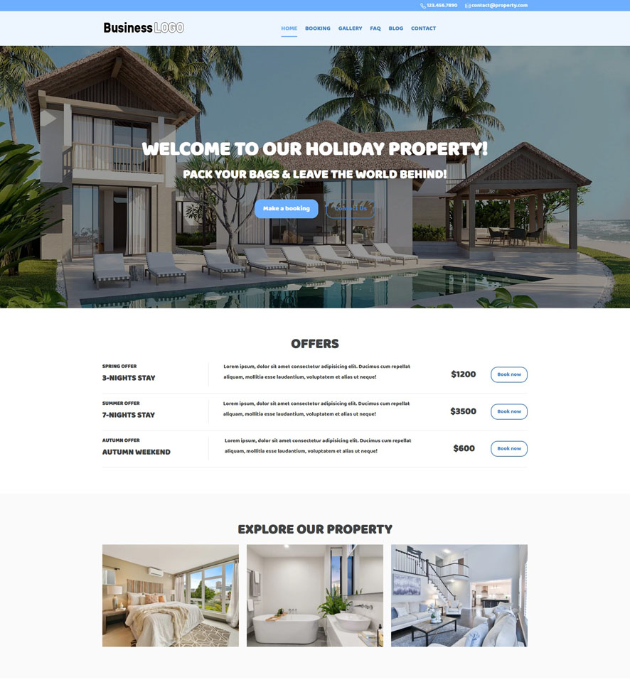Holiday Property Website Design by VEVS 1