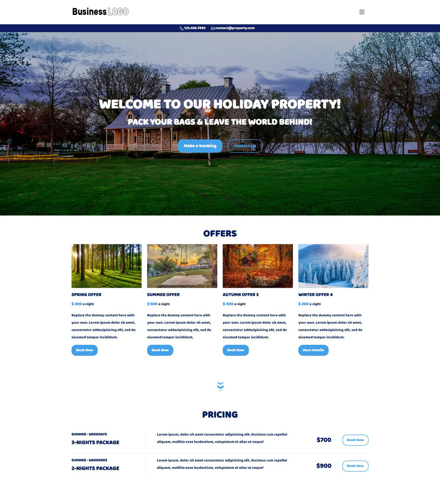Holiday Property Website Design by VEVS 2