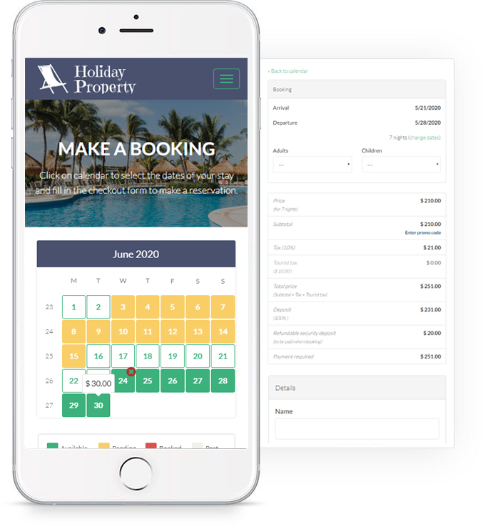 Holiday Property Website Features