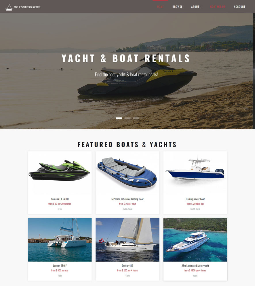 Yacht & Boat Website Design 1