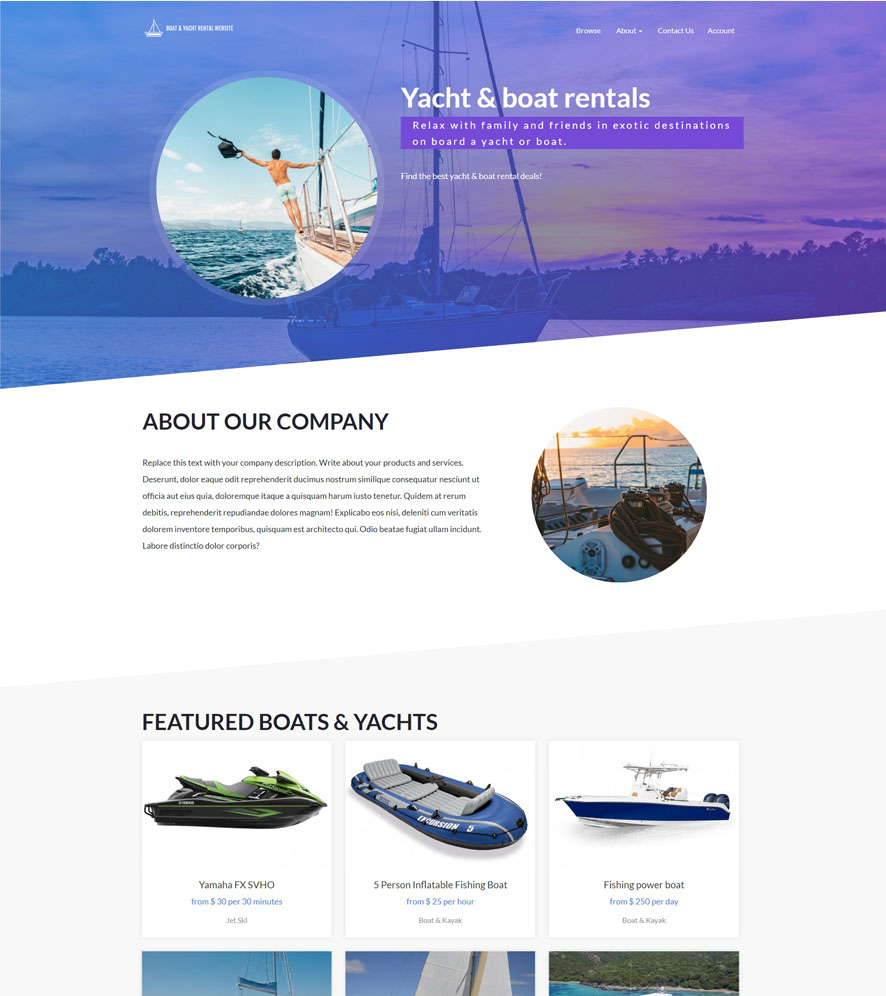 Yacht & Boat Website Design 2