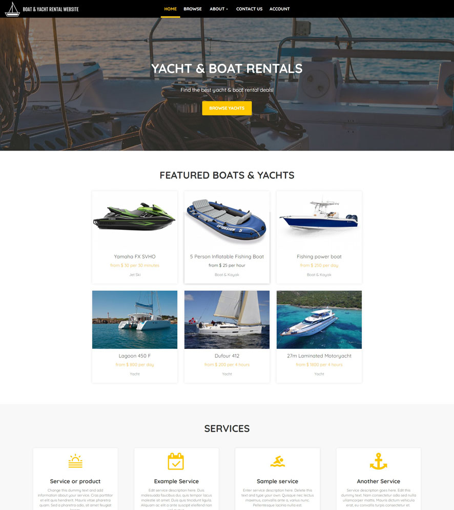 Yacht & Boat Website Design 3