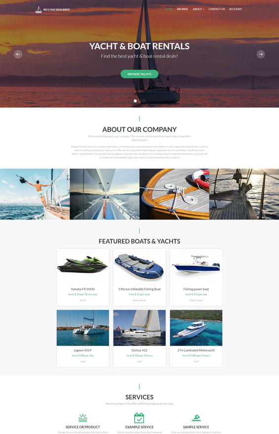 Yacht & Boat Rental Website 1