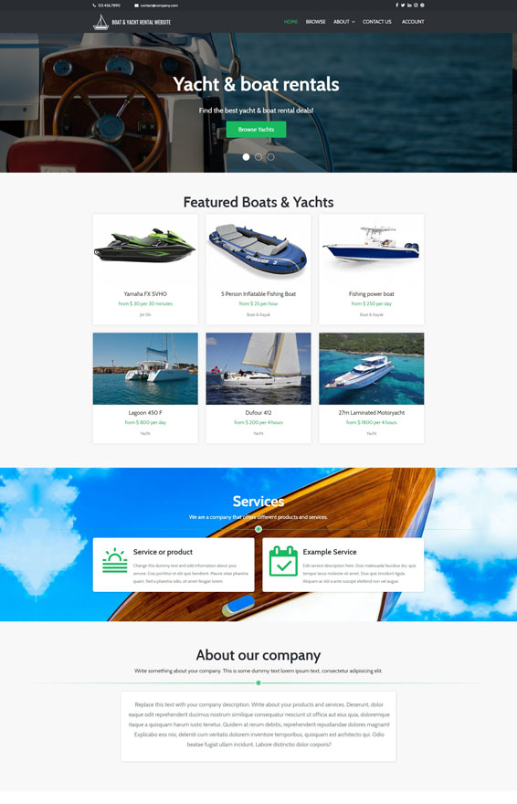 Yacht & Boat Rental Website 2