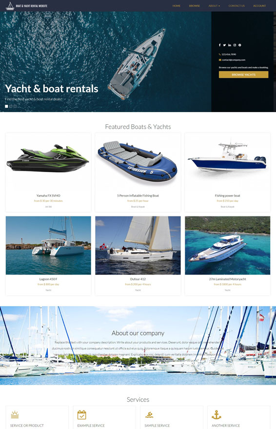 Yacht & Boat Rental Website 3