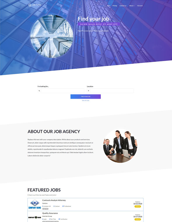 Job Portal Website Template #2
