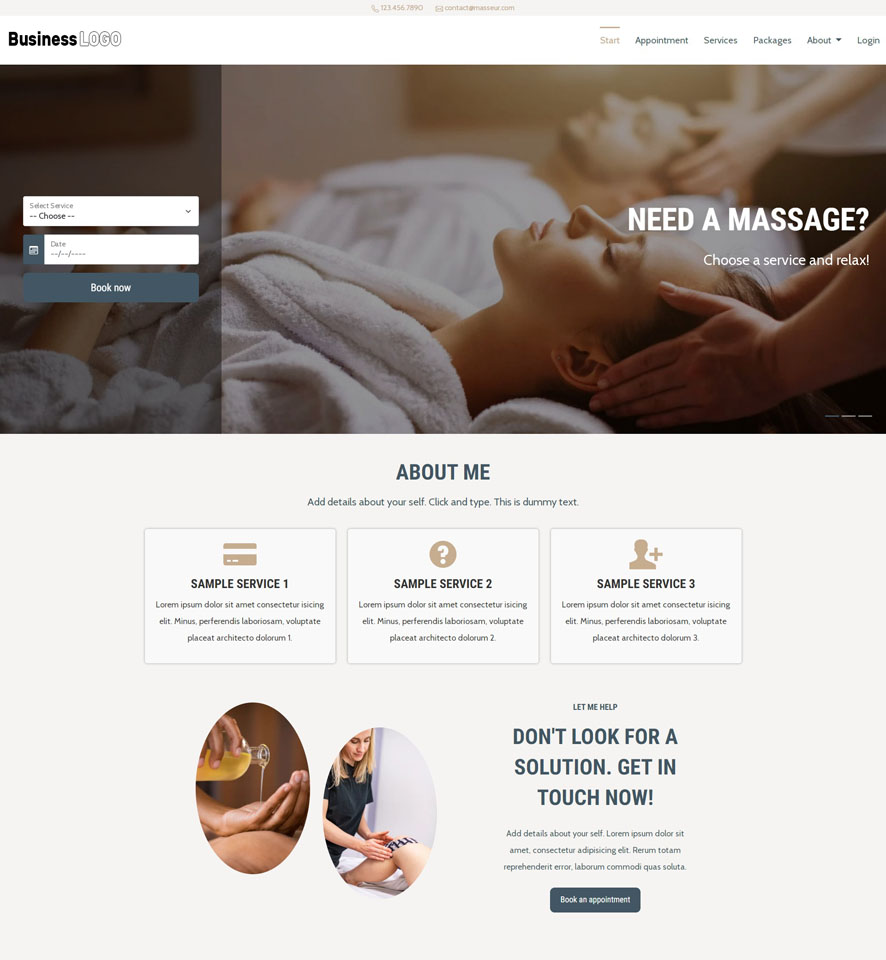 Massage Website Design by VEVS 1