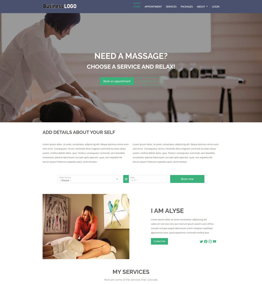 Massage Website Design by VEVS 3