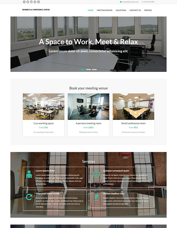 Meeting Room Booking Website Template #10