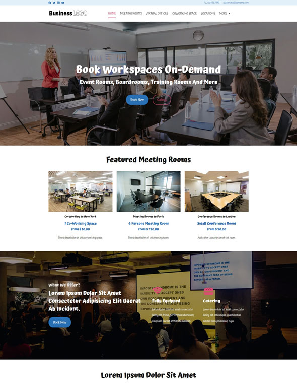 Meeting Room Booking Website Template #2
