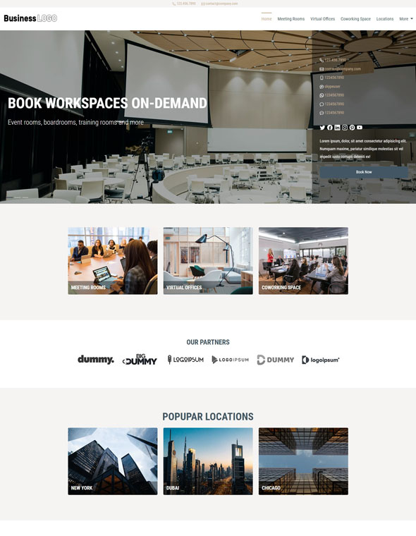 Meeting Room Booking Website Template #3