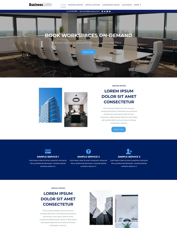 Meeting Room Booking Website Template #4