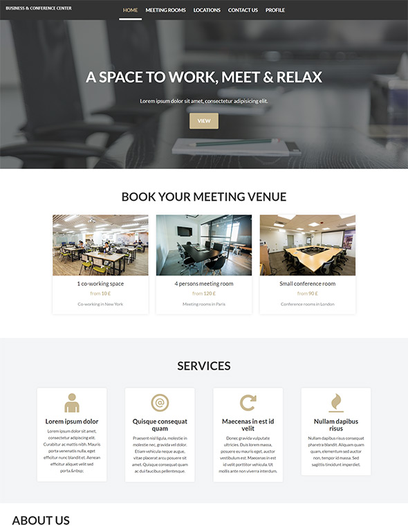 Meeting Room Booking Website Template #7