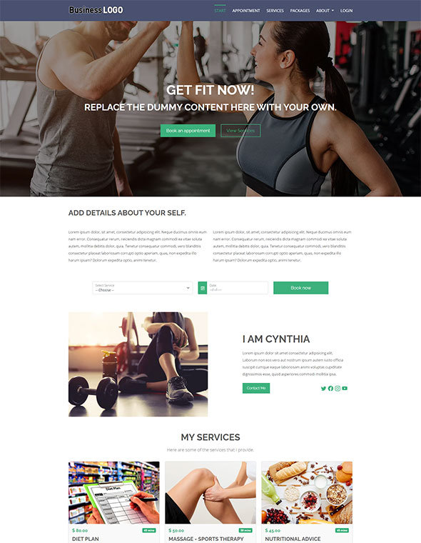 Vevs Personal Trainer Websites Demo
