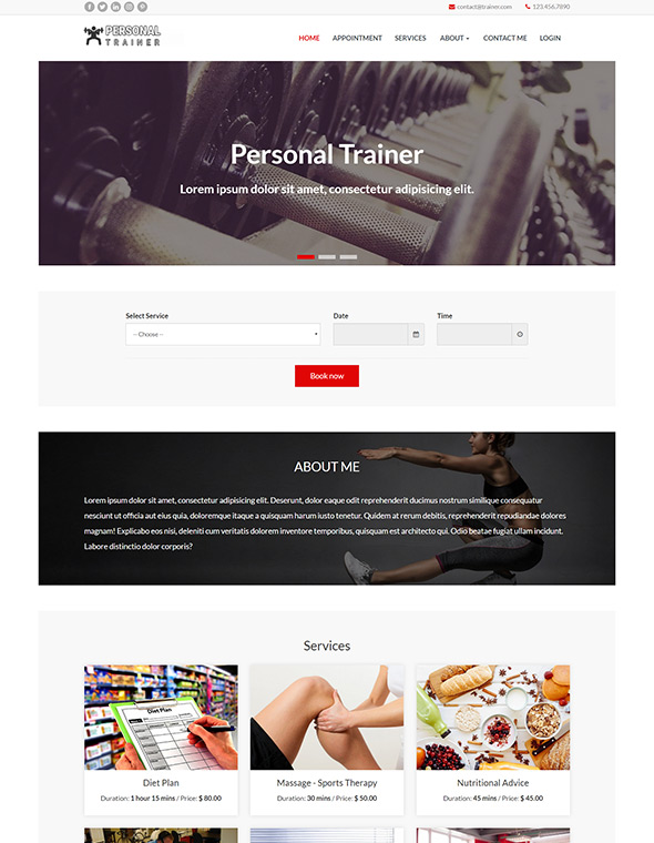 Personal Trainer Website Template #10