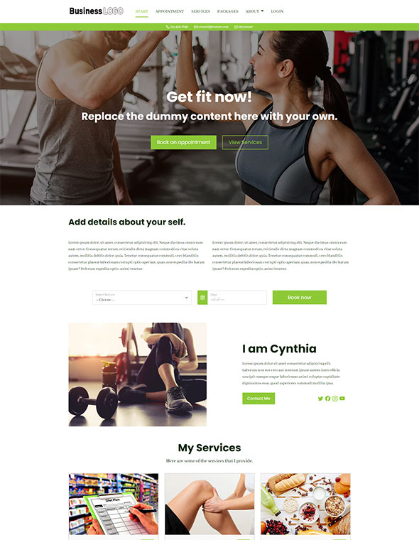 Personal Trainer Website Template #5