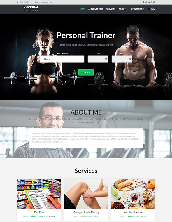 Personal Trainer Website Template #6