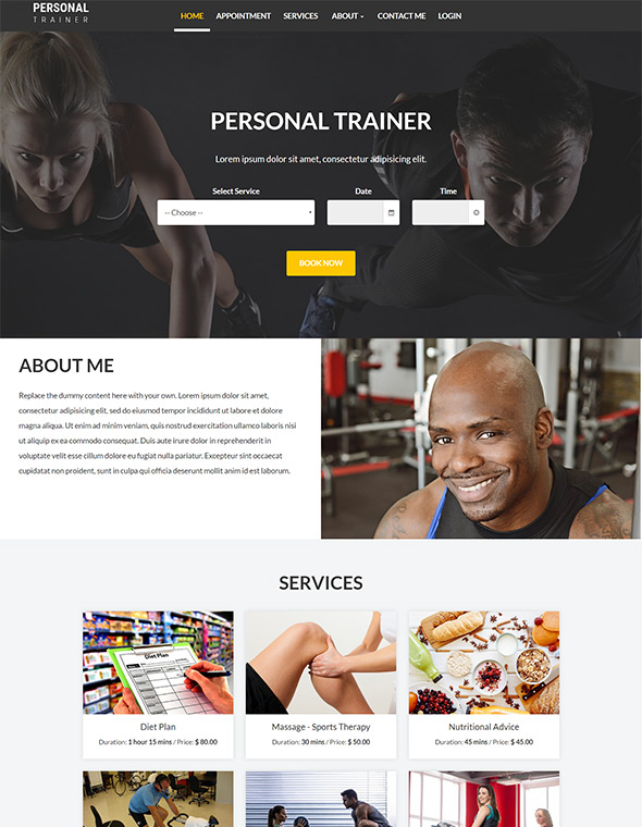 Personal Trainer Website Template #7