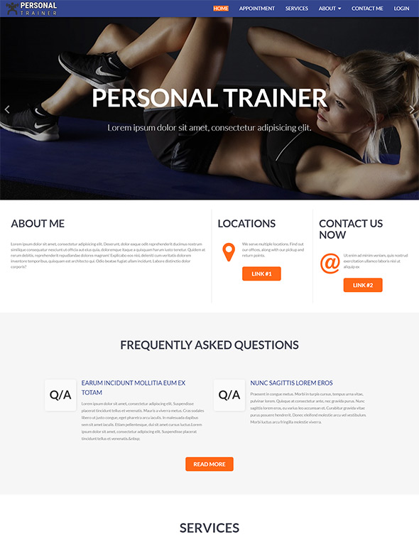 Personal Trainer Website Template #8