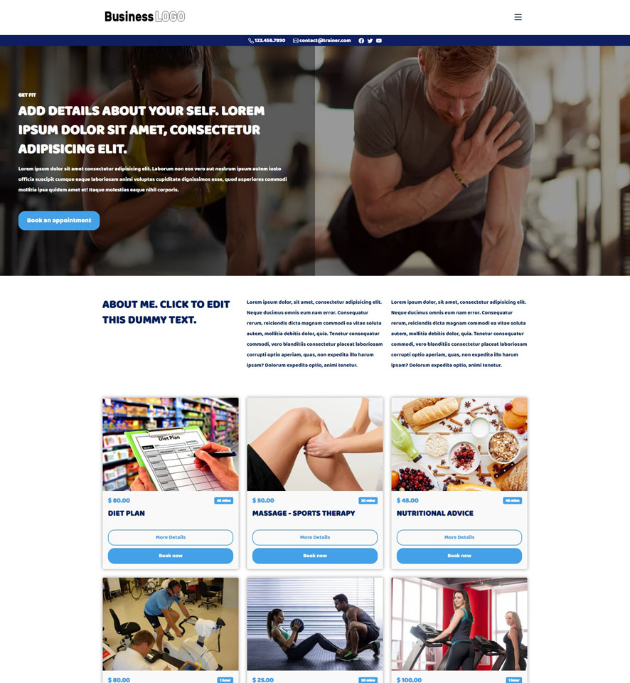 Personal Trainer Website Design by VEVS 1