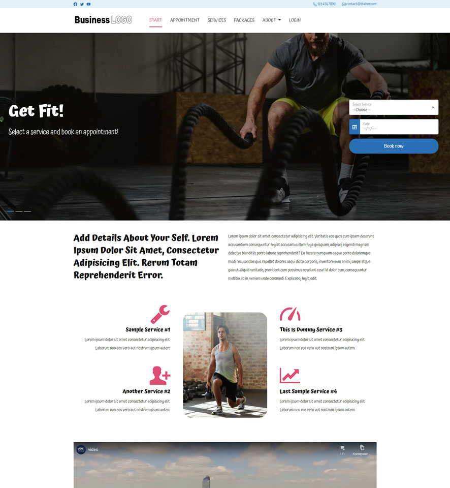 Fitness Instructor Website Design by VEVS 3
