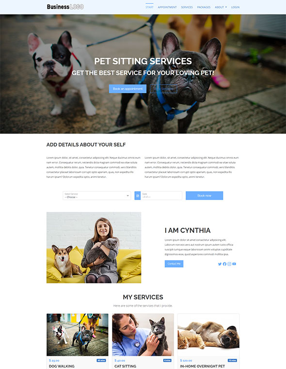 Pet Sitting Website Template #1