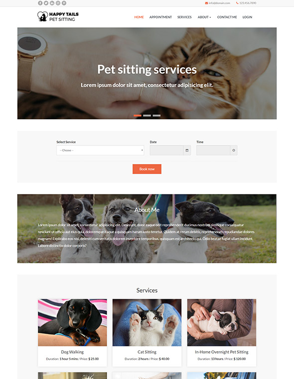 Pet Sitting Website Template #10