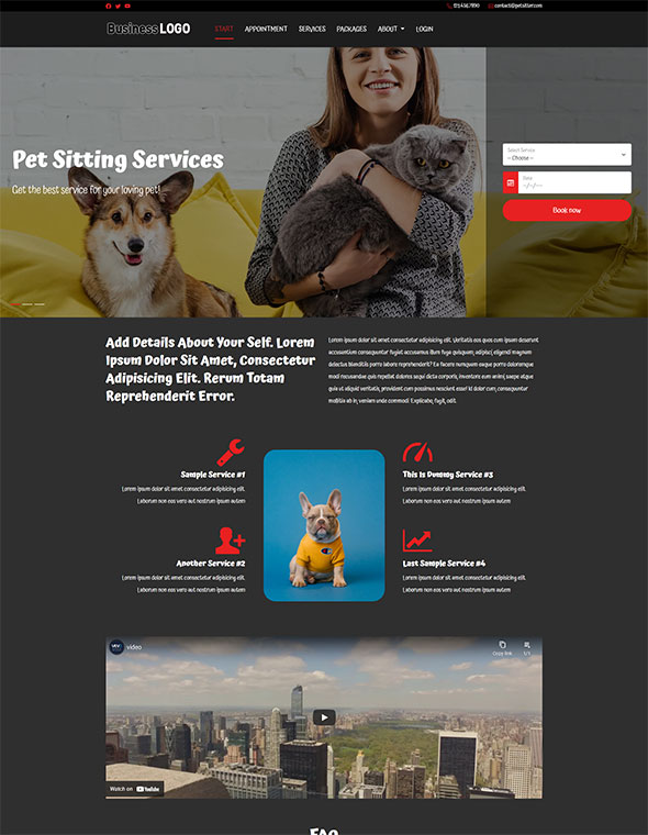 Pet Sitting Website Template #2