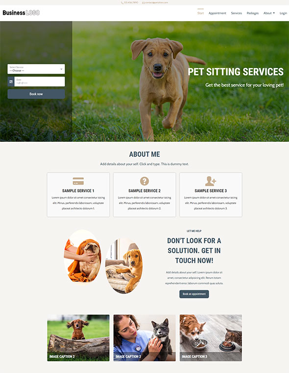 Pet Sitting Website Template #3
