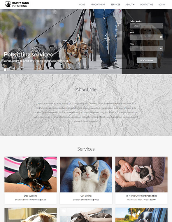 Pet Sitting Website Template #9