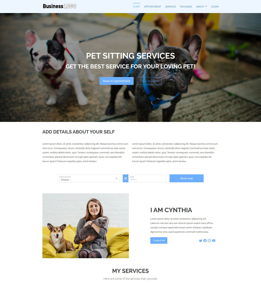 Pet Sitting Website Design by VEVS 1