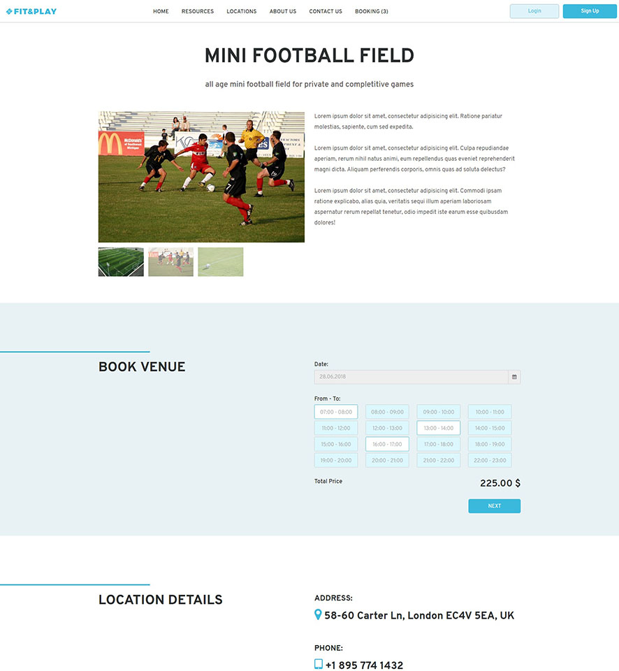 Sports Facilities Website Design by VEVS 3