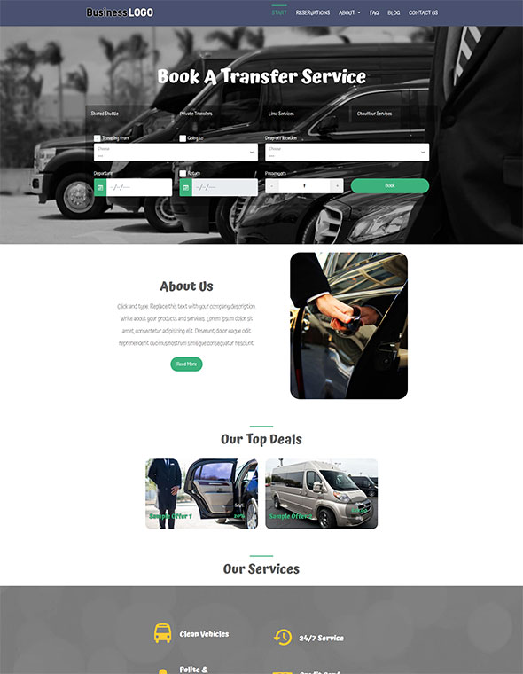 Shuttle & Taxi Website Template #1