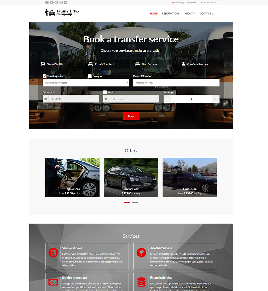 Shuttle & Taxi Website Template #10