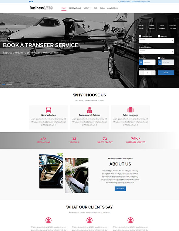 Shuttle & Taxi Website Template #2