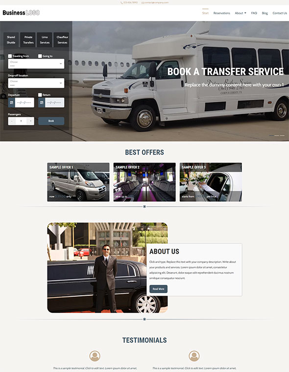 Shuttle & Taxi Website Template #3