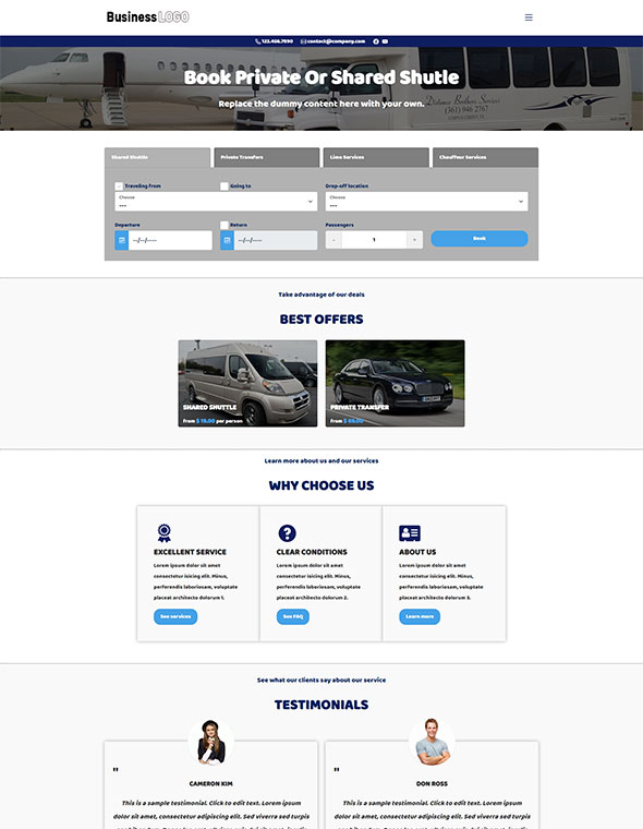 Shuttle & Taxi Website Template #4