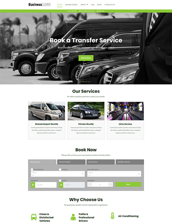 Shuttle & Taxi Website Template #5