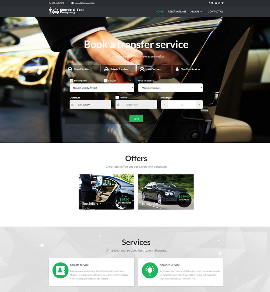 Shuttle & Taxi Website Template #6