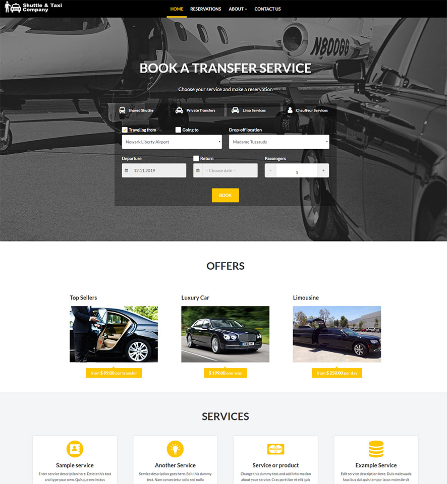 Shuttle & Taxi Website Template #7