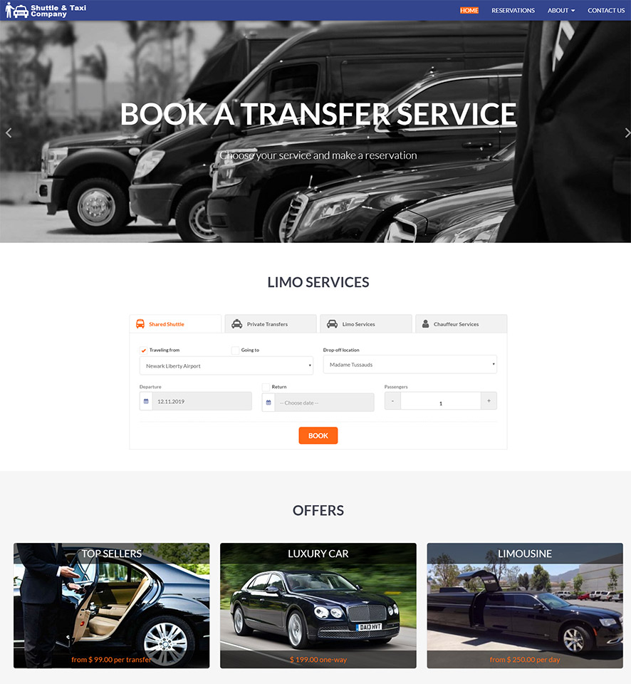 Shuttle & Taxi Website Template #8