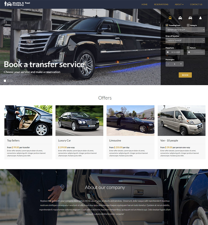 Shuttle & Taxi Website Template #9