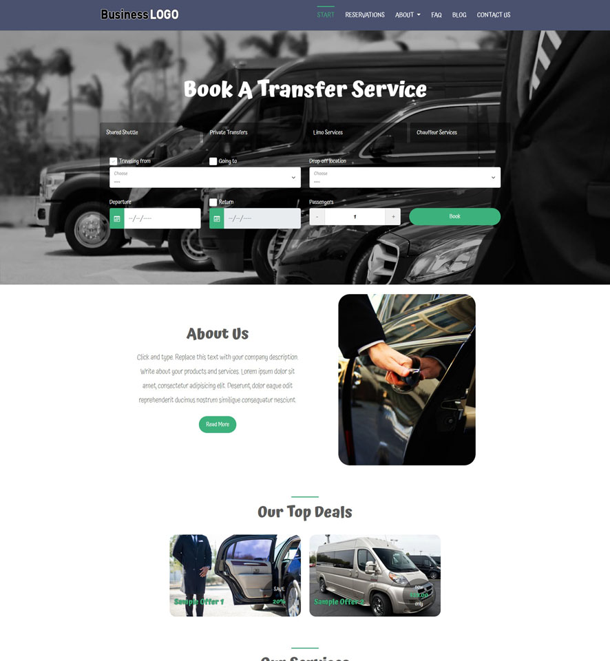 Shuttle Service Website Design 3