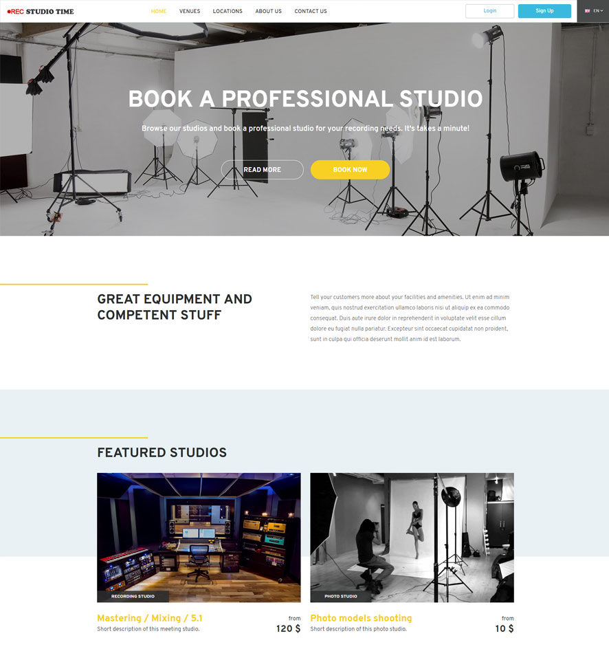 Studio Booking Website Design by VEVS 2