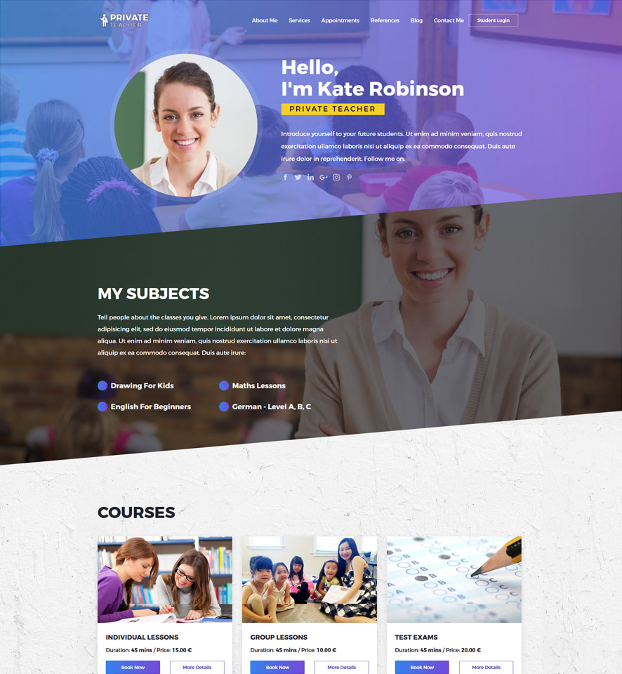 Private Teacher Website Design by VEVS 2