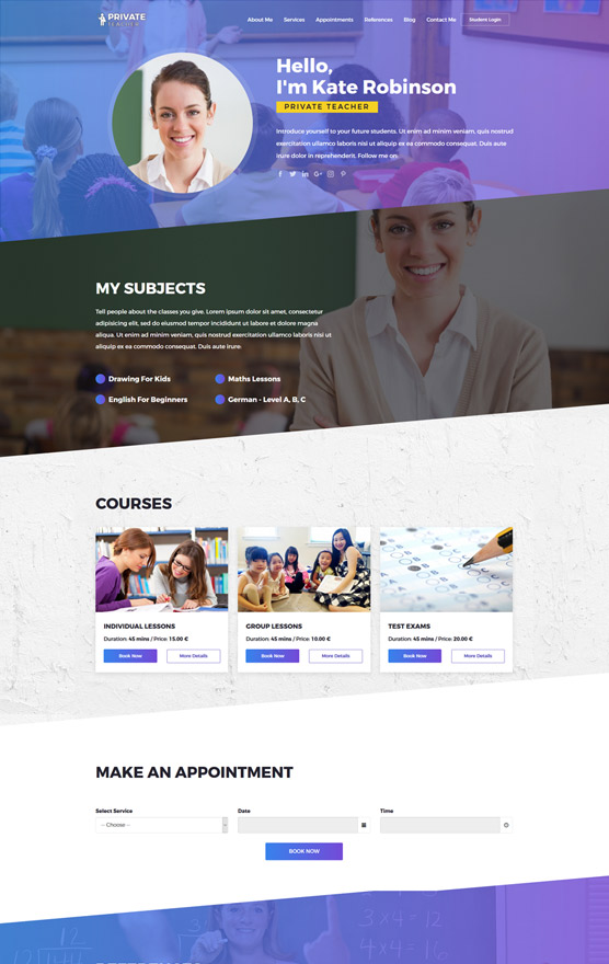 VEVS Private Teacher Website