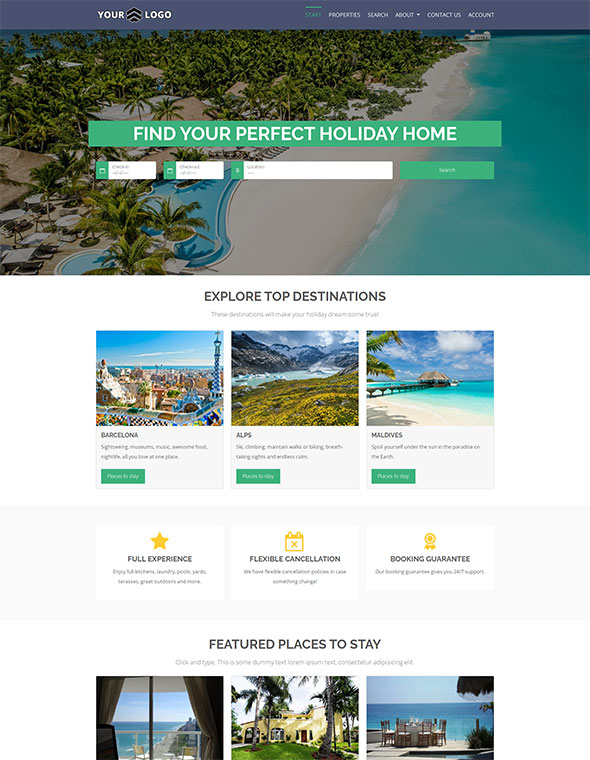 Vacation Rental Website Template #1
