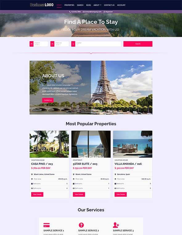 Vacation Rental Website Template #10