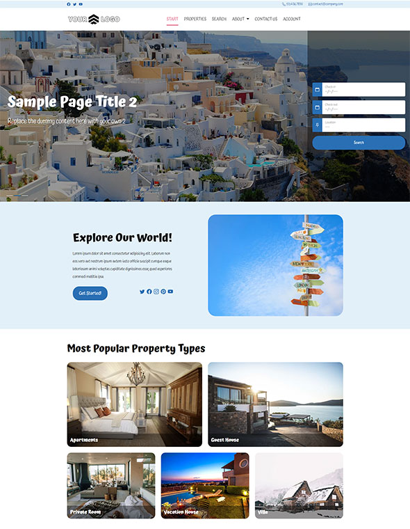 Vacation Rental Website Template #2
